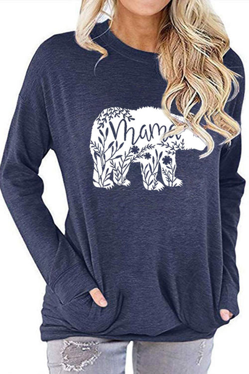 Mama Bear Graphic Print Bat Long Sleeve Pocket T-Shirt