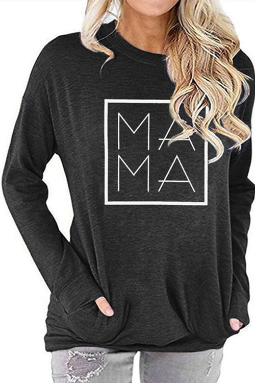 MAMA Letter Print Round Neck Long Sleeve T-Shirt