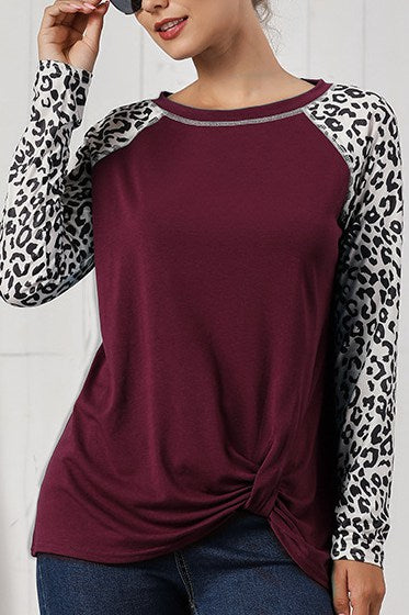 Casual Patchwork Black Long Sleeve T-shirt
