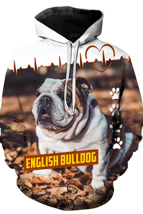 3D Digital Print English bulldog Hoodie