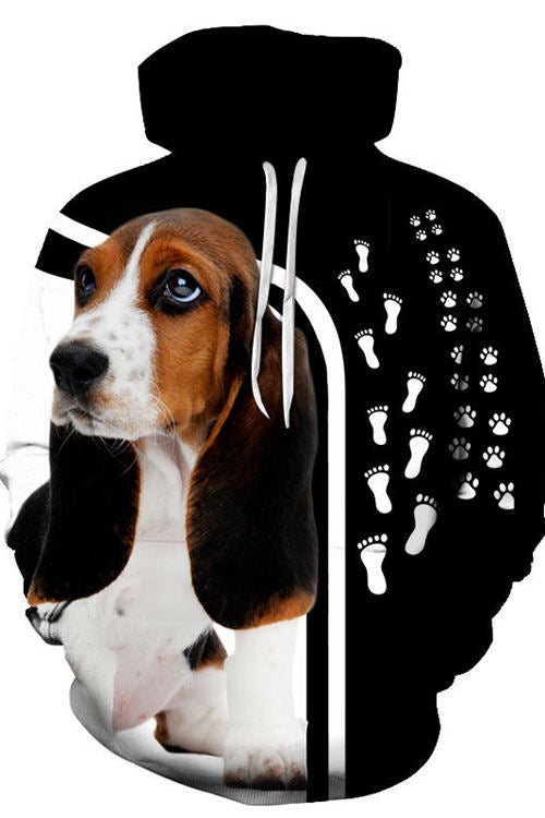 3D Graphic Hoodies  Animals Dogs  Basset Hound