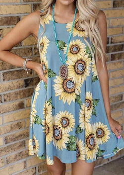 Sunflower Pocket Mini Dress without Necklace