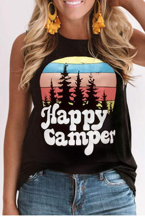 Happy Camper Round Collar Tank Top