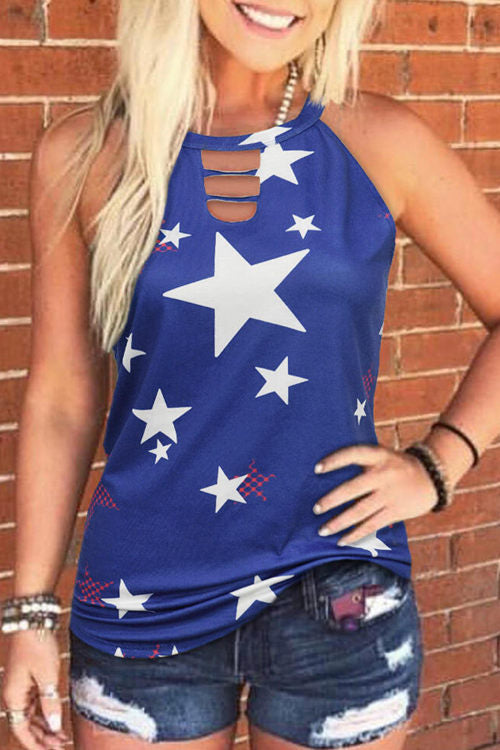 Flag Printed Casual Sleeveless Top