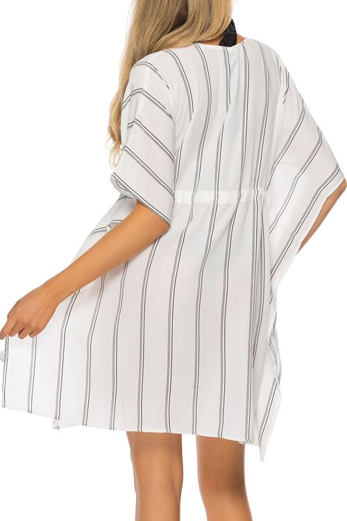 Striped Cord Suntan Bikini Beach Blouse