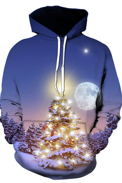 3D Digital Print  Christmas Tree Under The Moon Hoodie