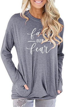 Letter Print Pocket Sweater Round Neck Long Sleeve T-Shirt