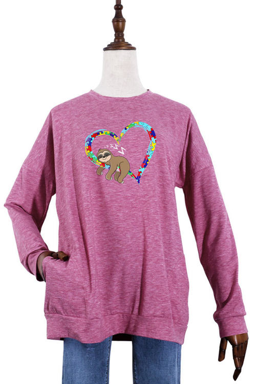 Love Sloth Print Pocket Wweater Round Neck Long Sleeve T-Shirt