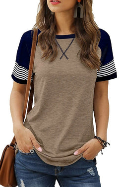 Round Neck Patchwork Casual T-Shirt
