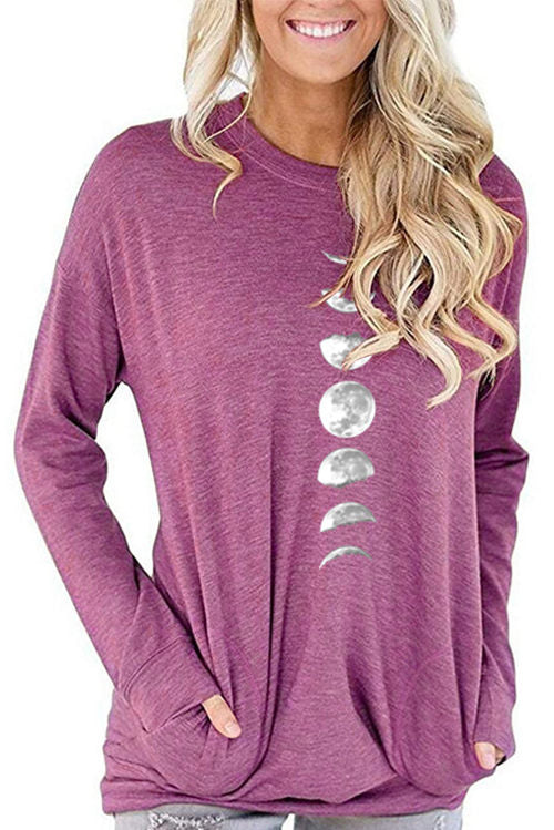 Moon Print Pocket Long Sleeve T-Shirt