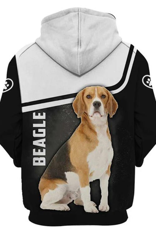 3D Graphic Hoodies Animals Dogs Beagle Sit