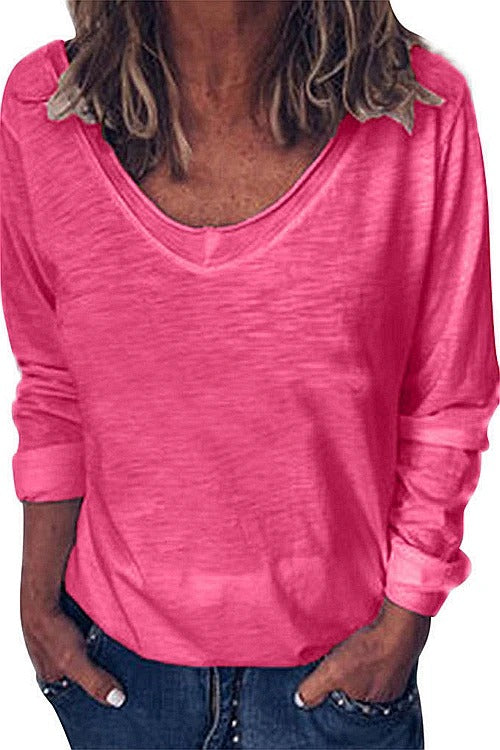 Solid V Neck Long Sleeve T-Shirt