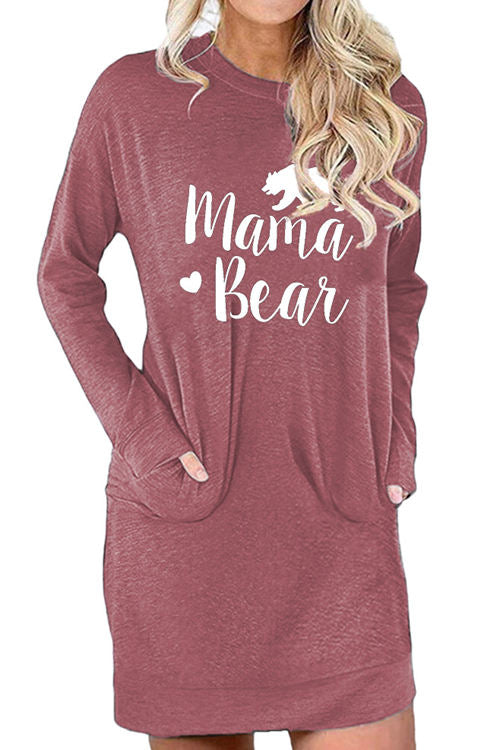 Mama Bear Letter Print Loose Pocket Dress