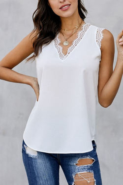 Casual Eyelash Lace Sleeveless Tank Top
