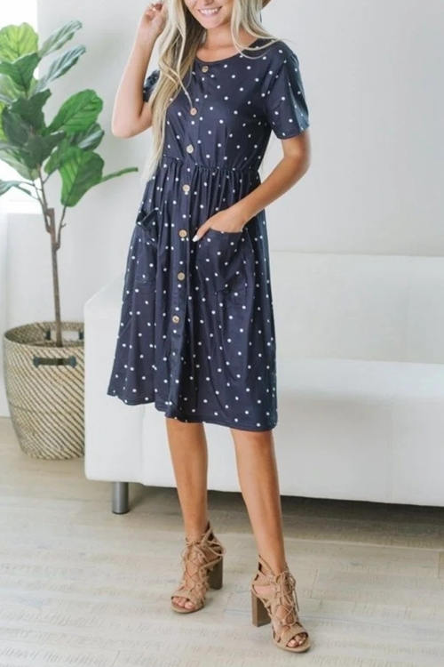 Loose Printed Medium Length Dress