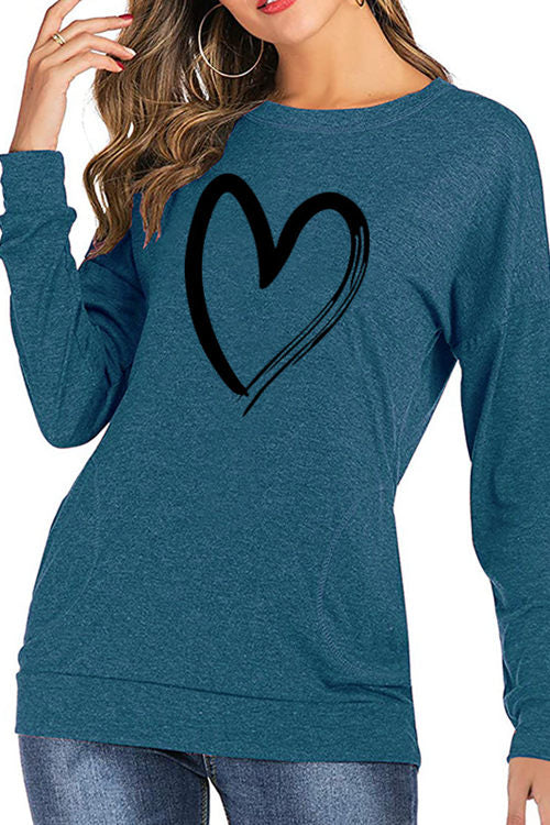 Love Pattern Printed Long-Sleeved Sweatshirt
