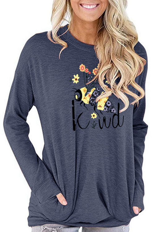 Be Kind Bee Print Pocket  Long Sleeve T-Shirt