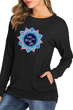 Mandala Flower Print Pocket Long Sleeve T-Shirt