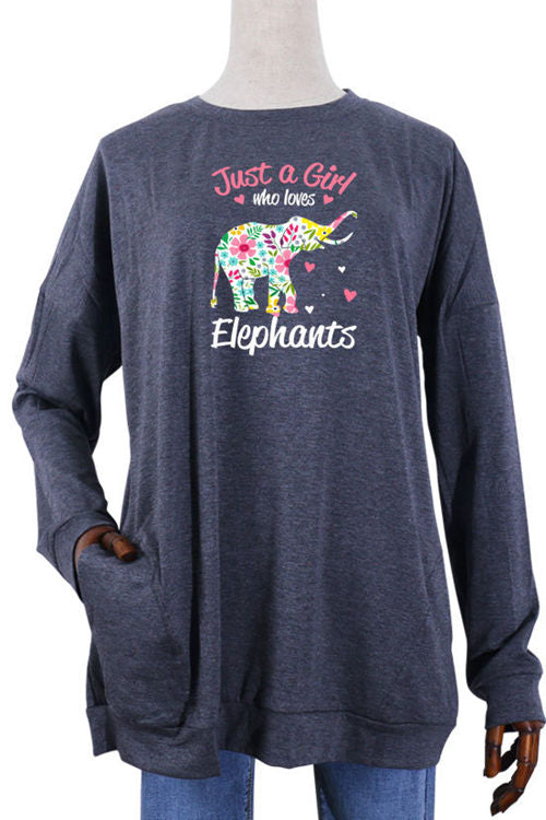 Elephant Floral Print Pocket Long Sleeve T-Shirt