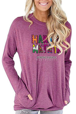 Color Letter Printed Pocket Long Sleeve T-Shirt