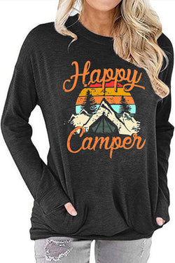 Happy Campen Print Long Sleeve T-Shirt