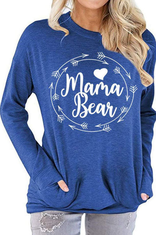 Mama Bear Letter Print  Long Sleeve Shirt