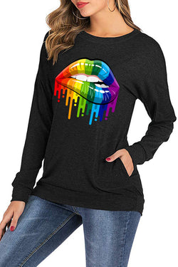 Rainbow Lip Pattern Print Loose Round Meck Long Sleeve Shirt