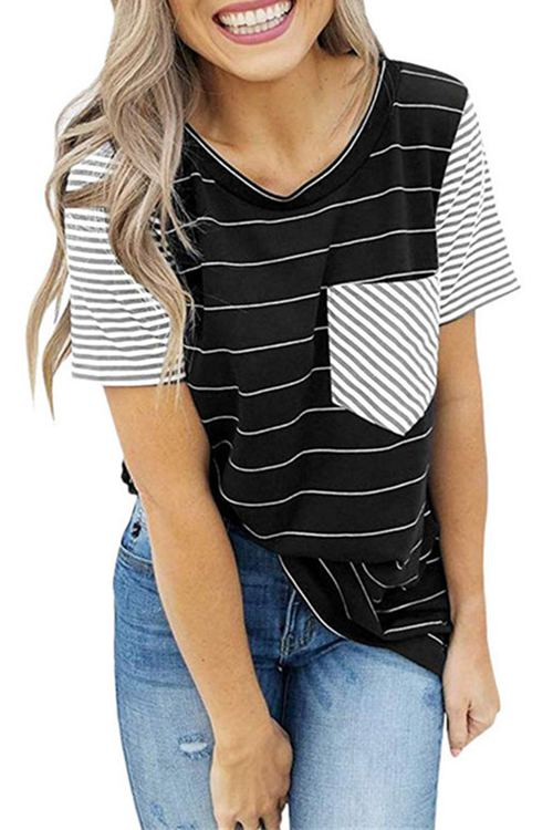 Striped Pocket Stitching Short Sleeves T-Shirt
