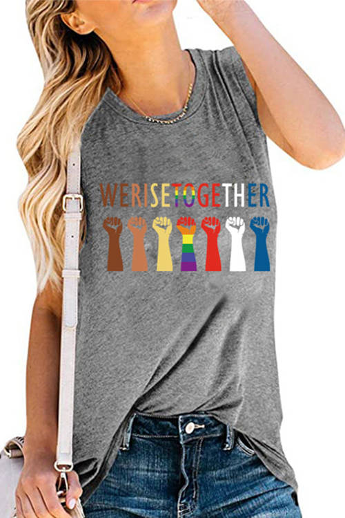 WERISETOGETHER Letter Printed Tank Top