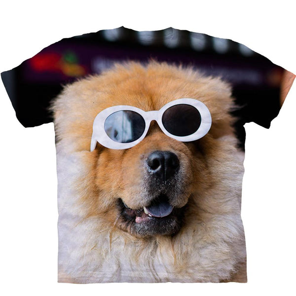 Adult Unisex 3D Short Sleeve T-Shirt  Chow With Glasses