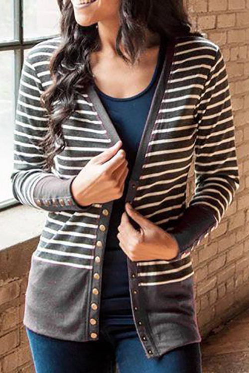 Single-Breasted Striped Contrast Cardigan