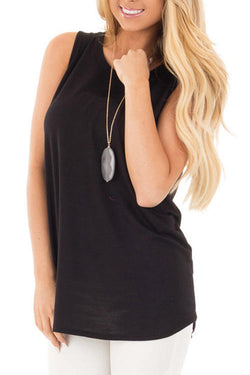 Hollowed-Out Back Plain Sleeveless Tank  Top