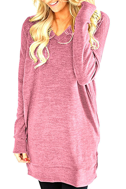 Loose Long Sleeve V-Neck Pocket T-Shirt
