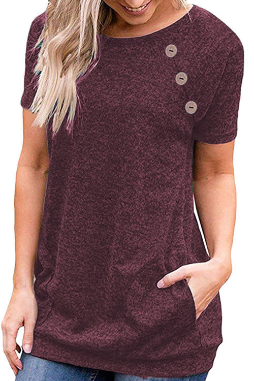 Pocket Button Short Sleeve T-Shirt