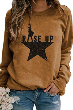 Printed Casual Loose Pullover Long Sleeves T-Shirt