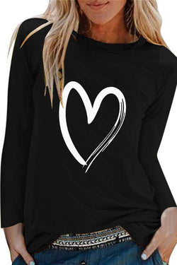 Love Printed Long Sleeve Pullover Shirt With Round Neck