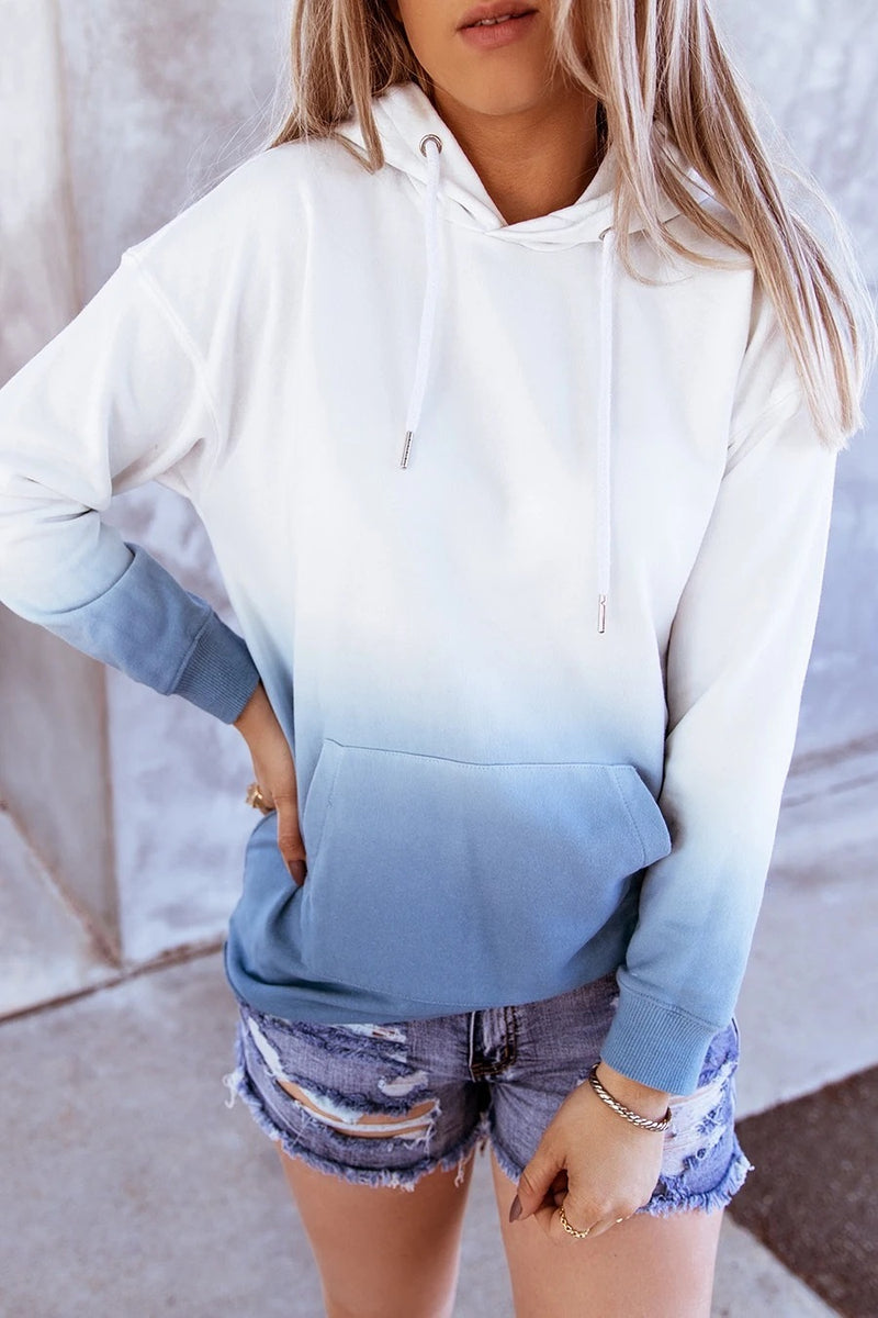 Tie-Dye Printed  Long-Sleeved  Hoodie