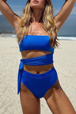 Knot Design Blue Two-Piece Swimsuit