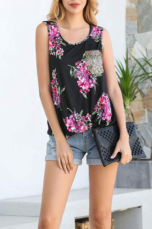 Sleeveless  Sequined Pocket Twisted Tank Top