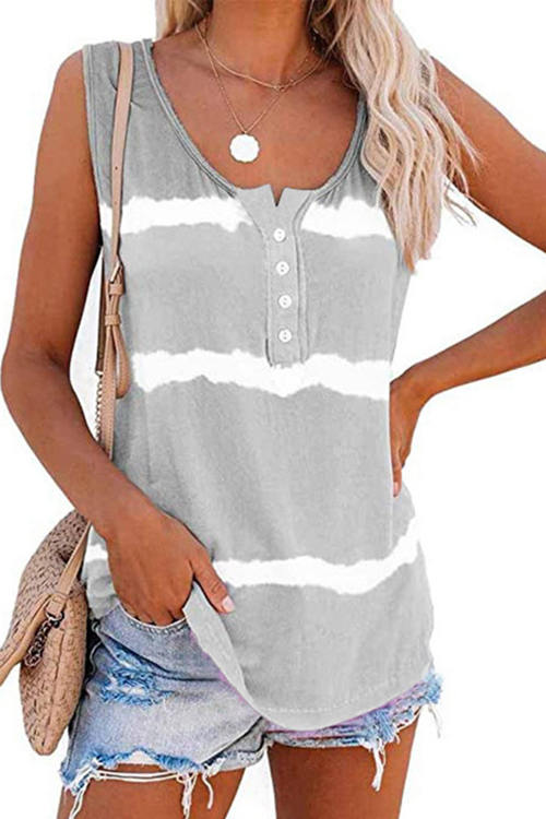 Tie-Dye Printed Button Up Tank Top