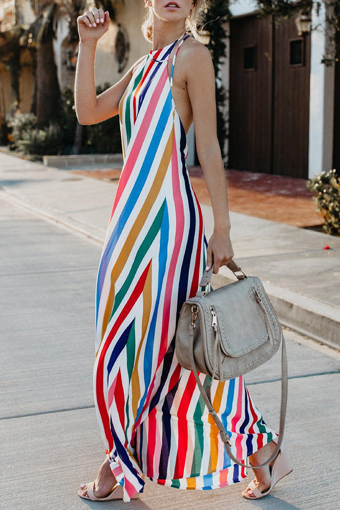 Striped Halter V-neck Sleeveless Dress