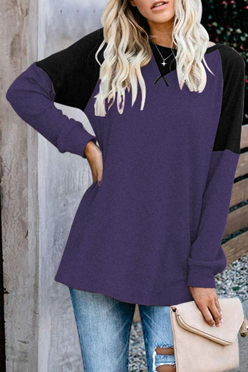Long Sleeve Stitching Round Neck Casual T-Shirt