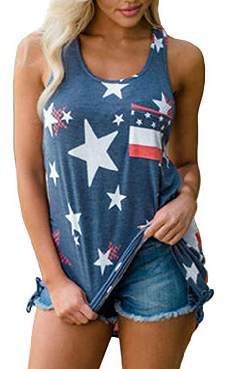 Flag Printed Casual Tank Top