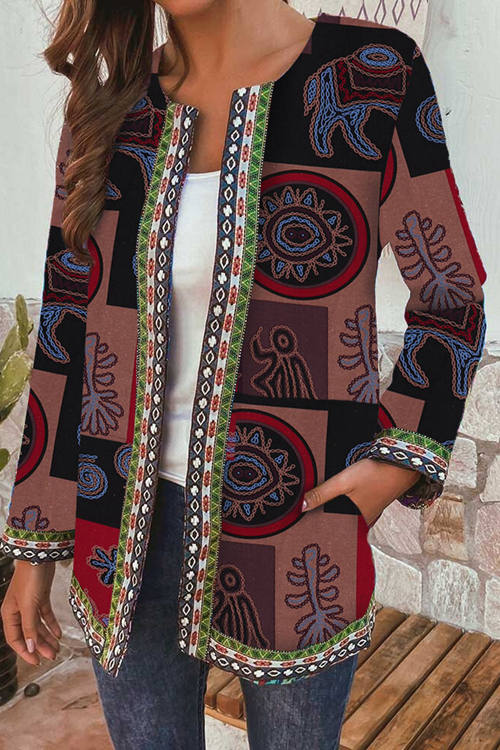Retro Print Long Sleeve Cardigan