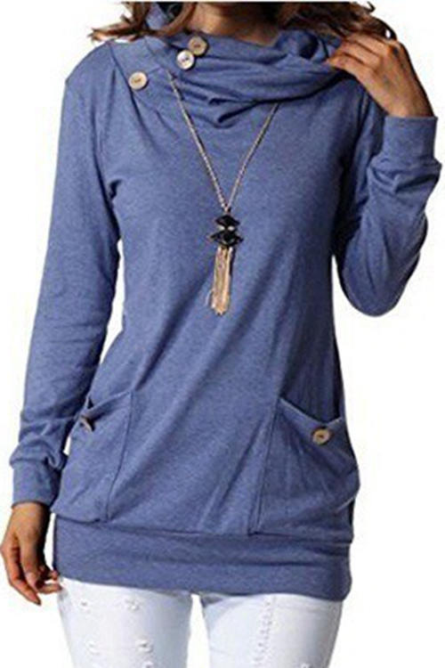 Solid-Color Long-Sleeved High-Collar Pocket Buttons T-Shirt