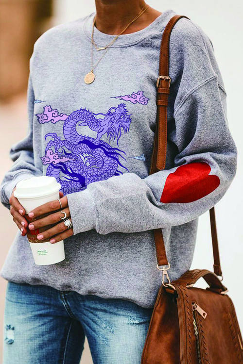 Round Neck Long Sleeve Casual Dragon Print Sweatshirt