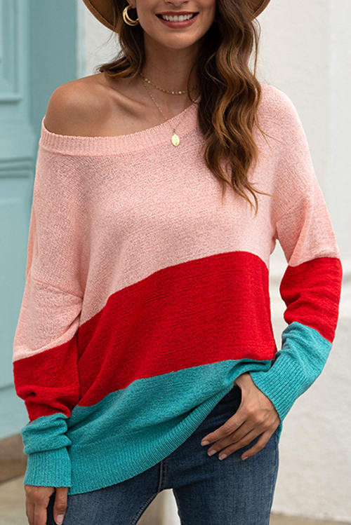 Stripe Spliced Off-The-shoulder Knit  Blouse