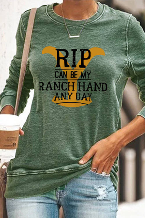 Round Neck Long Sleeve Casual Ranch Printed sweashirt