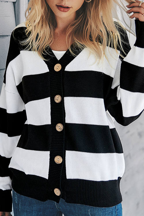 Loose Striped Cardigan