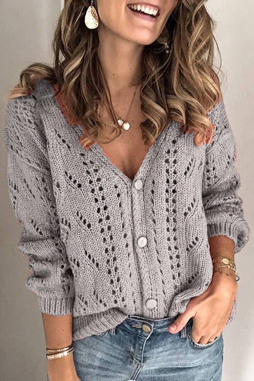 Solid Color Cutout V-Neck Knitted Cardigan